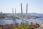 Golden bridge over Zolotoy Rog Bay. Vladivostok. Russia — Stock Photo