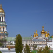 Kiev, ukraine, panorama, kyiv pechersk lavra, religion, orthodoxy, architecture, sky, blue, sunny, day, summer, cathedrals, bell tower, cupola, dome, building, roof, top view — Stock Photo #43482963