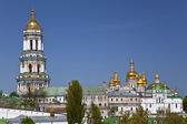 Kiev, ukraine, panorama, kyiv pechersk lavra, religion, orthodoxy, architecture, sky, blue, sunny, day, summer, cathedrals, bell tower, cupola, dome, building, roof, top view — Foto de Stock