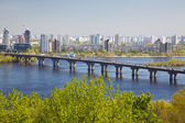 Panorama of Kiev and the bridge through the river Dnepr — Stock Photo