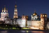 Novodevichy women's monastery at night. Moscow — Stock Photo