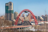 View of Moscow and the red bridge over the Moscow river — Stock Photo