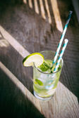 Cold mojito cocktail with ice and straw on board — Stock Photo