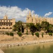 Royal Palace of La Almudaina and Cathedral La Seu — Stock Photo