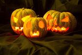 Halloween pumpkins in the dark — Stock Photo