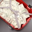 Suitcase with dollars — Stock Photo