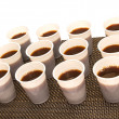 Disposable cups with coffee — Stock fotografie