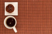 Chocolate Muffins with a cup of coffee — Stok fotoğraf