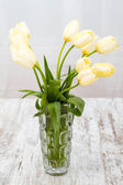 Tulips on a glass pot	 — Stock Photo