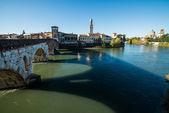 Ponte Pietra and the River Adige, Italy, Europe — Stock Photo