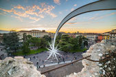View from the arena of Verona Piazza Bra — Stock Photo