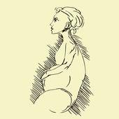беременная женщина — Cтоковый вектор