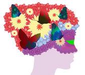 Hair flowers — Stock Vector