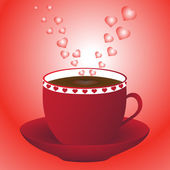 Red coffee hearts — Stock Vector