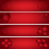 Only hearts - red banners — Stock Vector