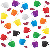 Colorful coffee cup pattern — Stock Vector