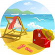 Sun lounger and suitcase on the beach — Stock Vector