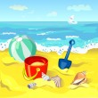 Children's toys on the beach — Stock Vector