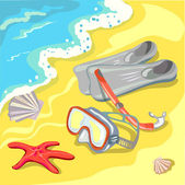 Beach with a mask, snorkel and fins — Stock Vector