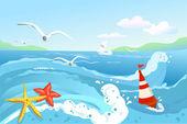 Seascape, buoy and starfish — Stock Vector