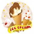 Icon with a set of ice cream — Stock Vector