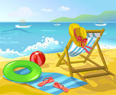 Beach with chaise lounge and recreation items — Stock Vector