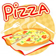 Icon with pizza — Stock Vector