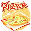 Icon with pizza — Stockvectorbeeld