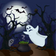 Ghost in the woods. Halloween — Stock Vector