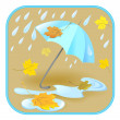 Umbrella, rain, autumn leaves — Stock Vector
