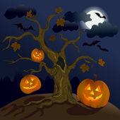 Halloween. Pumpkins under the tree — Stock Vector