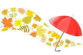 Autumn background with an umbrella — Stock Vector