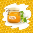 Container of honey on honeycomb background — Vector de stock
