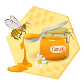 Icon with spoon of honey and bees — Stock Vector