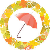 Circular pattern of autumn leaves and umbrella — Stock Vector