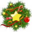Christmas wreath with stars and decorations — Stock Vector