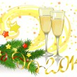 Christmas still life with glasses of champagne — Stock Vector #31988555