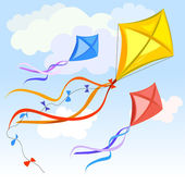 Kite and clouds background — Stock Vector