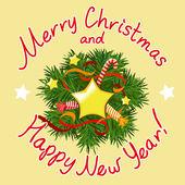 Christmas card with a decorative wreath — Stock Vector