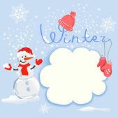 Zimní karta s sněhulák — Stock vektor