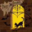 Cat on the window, Halloween — Stock Vector