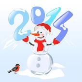 Pupazzo di neve tenendo un anno a cifre — Vettoriale Stock