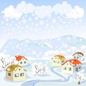 Paisaje rural de invierno — Vector de stock