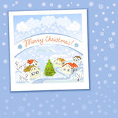 Christmas card with rural landscape and snowflakes — Stockvektor