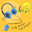 Headphones and music notes — Imagen vectorial