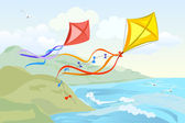 Kite flying over the sea — Vector de stock
