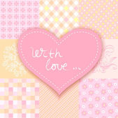 Patchwork heart. romantic background patchwork — Stock vektor
