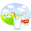 Box and glass with milk and rural landscape — Stock Vector