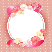 Vintage round frame with roses — Stock vektor