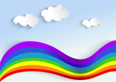 Background with rainbow and clouds, applique — Stock Vector